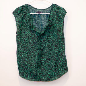 Gap Sleeveless Navy/Green Floral Blouse Swoop Neck